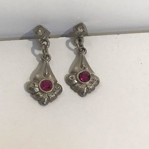 Sterling Silver Purple Stone and CZ Earrings